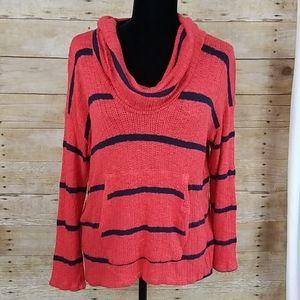 Splendid Striped Cowl Neck Kangaroo Pocket Sweater